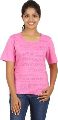 FICTIF Casual Short Sleeve Printed Women's Pink Top