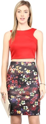 Harpa Floral Print Women's Pencil Red Skirt