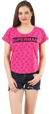 Supergirl Casual Short Sleeve Printed Women,s Pink Top