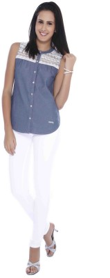 Miss Pink Casual Sleeveless Solid Girl's Blue Top