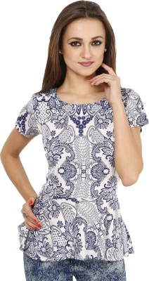 Famous by Payal Kapoor Casual Short Sleeve Printed Women's Blue Top