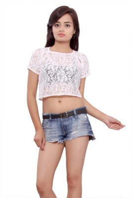 Maya Apparels Party Sleeveless Self Design Women's White Top