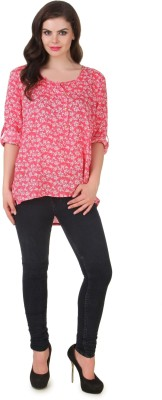 Silk Weavers Casual Roll-up Sleeve Printed Women's Red Top