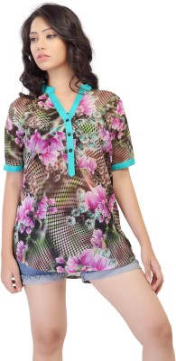 HERCOMPLETEWOMAN Casual Short Sleeve Printed Women's Multicolor Top