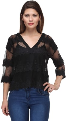 FW Collection Party 3/4 Sleeve Self Design Women's Black Top