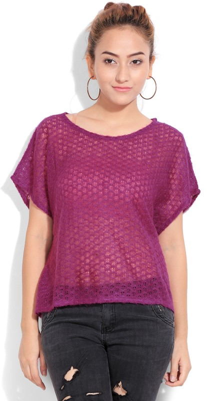 United Colors of Benetton Casual Short Sleeve Solid Women's Purple Top