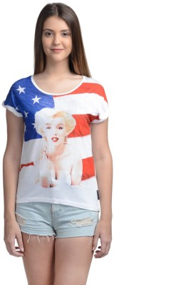 Free Authority Casual Short Sleeve Printed Women's White Top