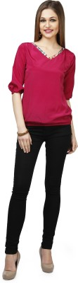 Glam & Luxe Casual Short Sleeve Solid Women's Red Top