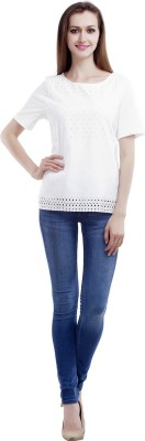 MansiCollections Casual Short Sleeve Solid Women's White Top