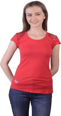 Lee Marc Casual Short Sleeve Solid Women's Red Top