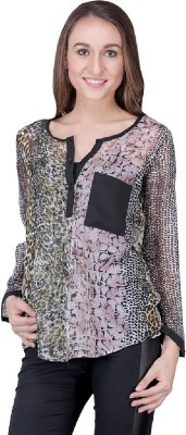 Shiks Vogue Casual Full Sleeve Printed Women's Multicolor Top
