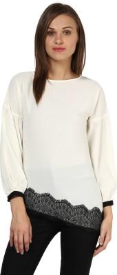 Rare Casual Full Sleeve Self Design Women,s White Top