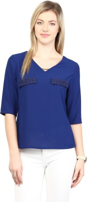 Rare Casual Short Sleeve Solid Women,s Blue Top