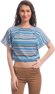 Uptownie Lite Party Short Sleeve Printed Women's Blue Top