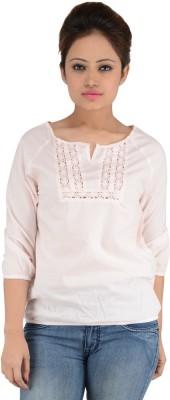 Eimoie Casual 3/4 Sleeve Solid Women's Pink Top