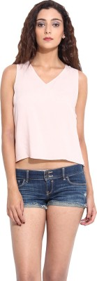 Pera Doce Casual Sleeveless Solid Women,s Pink Top