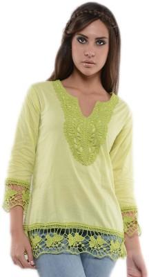 U&F Casual 3/4 Sleeve Solid Women's Green Top
