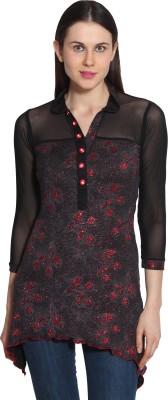 Sienna Casual 3/4 Sleeve Printed Women's Black, Red Top