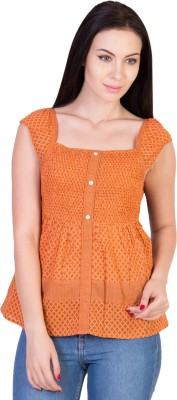 Hlsangam Casual Sleeveless Striped Women's Orange Top