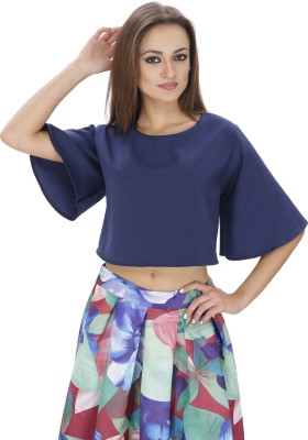 Svt Ada Collections Party Bell Sleeve Solid Women's Dark Blue Top