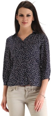 ZAIRE Casual 3/4 Sleeve Printed Women's Dark Blue Top