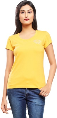 No Code Casual, Formal, Party, Lounge Wear, Sports Short Sleeve Solid Women's Yellow Top