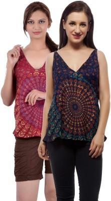 Indi Bargain Casual, Party, Formal, Beach Wear Sleeveless Printed, Floral Print Women's Dark Blue, Maroon Top