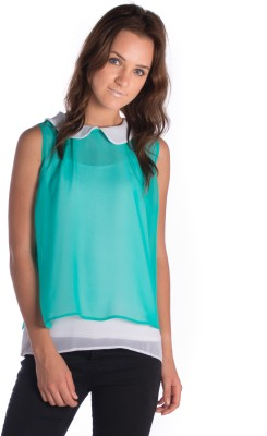 Miss Rich Casual Sleeveless Solid Women's Green Top