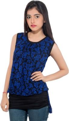 Membooz Casual, Party Short Sleeve Floral Print Women's Blue, Black Top