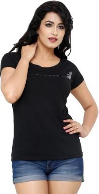 Alba Casual Short Sleeve Solid Women's Black Top
