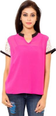 Eleganceranuka Party Sleeveless Self Design Women's Pink Top