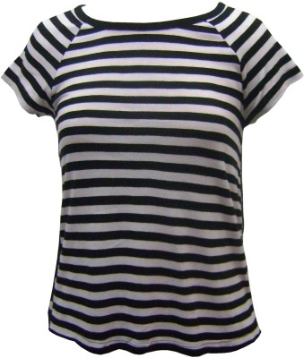 Girl Confidential Casual Short Sleeve Striped Girls Black Top
