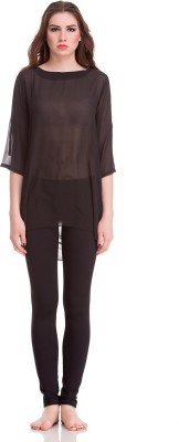 Private Lives Casual 3/4 Sleeve Solid Women's Black Top