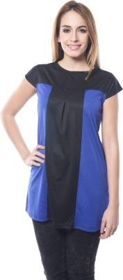 DWM Party Cap sleeve Solid Women's Black, Blue Top