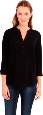 Vivante by VSA Casual 3/4 Sleeve Solid Women's Black Top