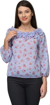 Vemero Party Balloon Sleeve Floral Print Women's Blue Top