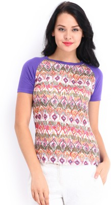 Dressberry Casual Short Sleeve Printed Women's White, Purple Top
