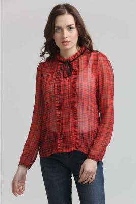 Moda Elementi Casual Full Sleeve Checkered Women's Red Top