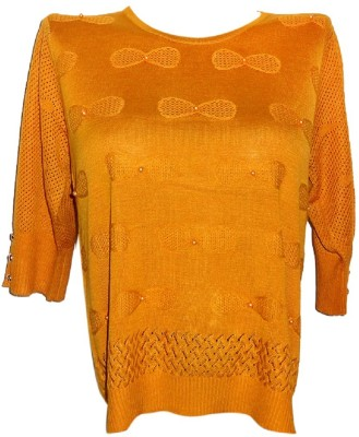 Forever 18 Casual 3/4 Sleeve Embroidered Women's Yellow Top