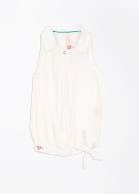 U.S. Polo Assn. Casual Sleeveless Solid Girl's White Top
