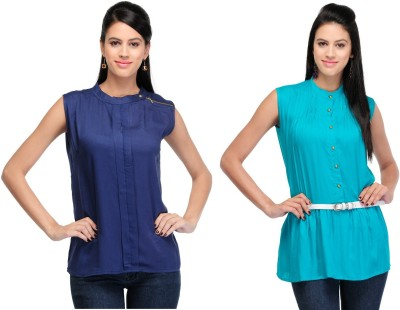 Abhinav Fashion Casual Sleeveless Solid Women's Blue, Green Top