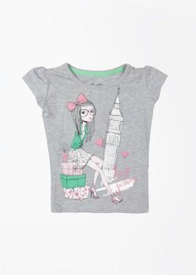 Gini & Jony Casual Cape Sleeve Printed Girl's Grey Top