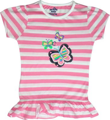 Kothari Casual Short Sleeve Printed Girls Pink Top