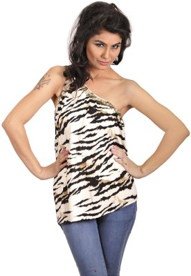My Hollywood Shop Party Sleeveless Animal Print Women's White Top