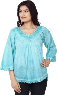 India Inc Casual 3/4 Sleeve Solid Women's Blue Top