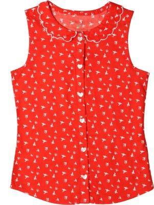 Allen Solly Casual Sleeveless Printed Girl's Red Top