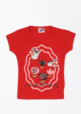 Etodzz Casual Short Sleeve Printed Baby Girl's Red Top