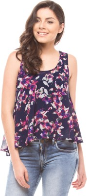 Shuffle Casual Sleeveless Floral Print Women's Blue Top