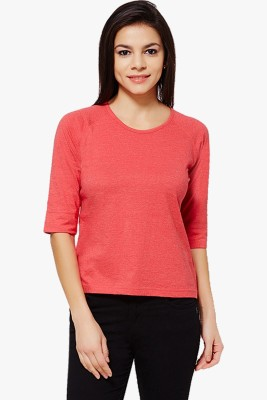 PNY Casual 3/4 Sleeve Solid Women's Red Top