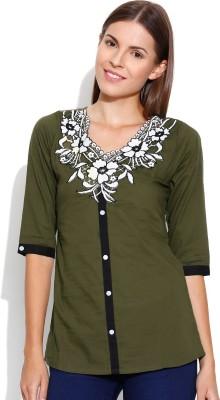 Shopaholic Casual 3/4 Sleeve Solid Women's Dark Green Top